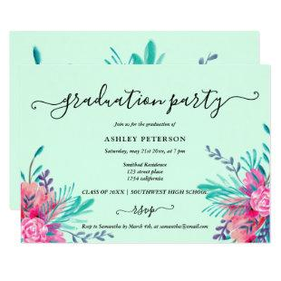 Modern mint pink floral watercolor graduation invitation