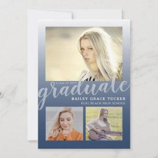 Modern Navy Blue Ombre 4-Photo Collage Graduation Announcement