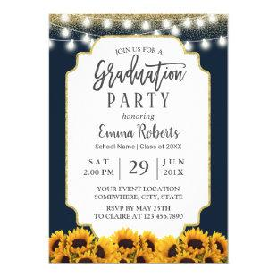 Modern Navy Blue Sunflower Floral Graduation Party Invitation