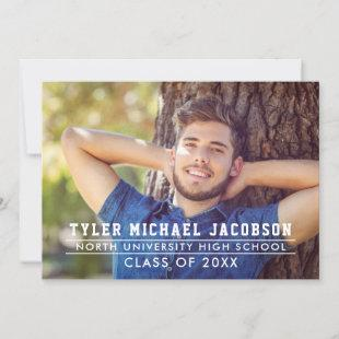 Modern Navy Class of 2021 Photo Graduation Party Invitation