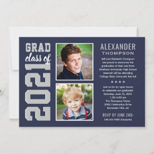 Modern Navy Gray Two Photos Graduation Party Invitation