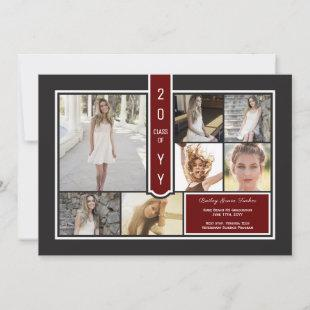 Modern Photo Collage Black Crimson Red Graduation Announcement