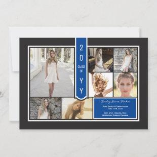 Modern Photo Collage Black & Dark Blue Graduation Announcement