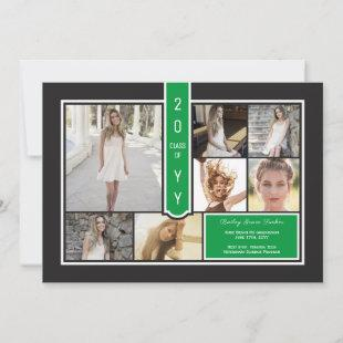 Modern Photo Collage Black & Green Graduation Announcement