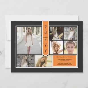 Modern Photo Collage Black & Orange Graduation Announcement