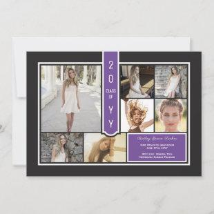 Modern Photo Collage Black & Purple Graduation Announcement