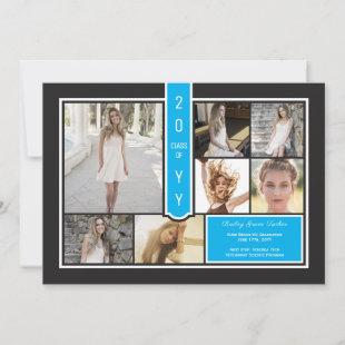 Modern Photo Collage Black & Sky Blue Graduation Announcement