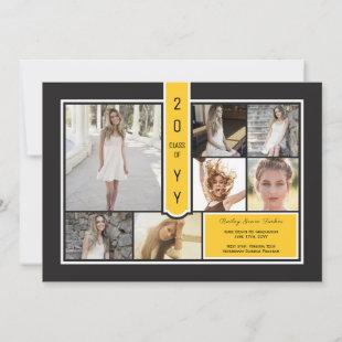 Modern Photo Collage Black & Yellow Graduation Announcement