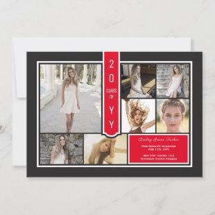 Modern Photo Collage Red & Black Graduation Announcement