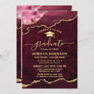 Modern PHOTO Golden Red Marble Graduation Party  Invitation
