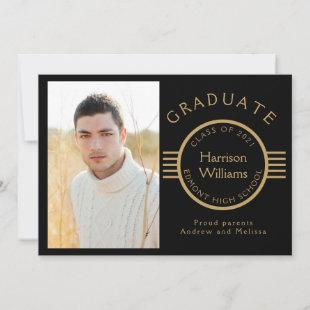 Modern Photo Graduate Gold Stripes Custom Announcement