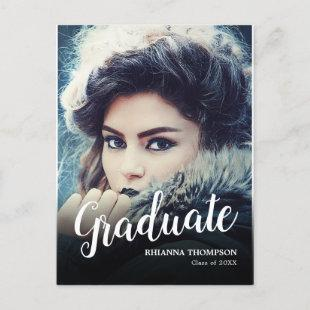 Modern Photo Graduate | Graduation Party Announcement Postcard