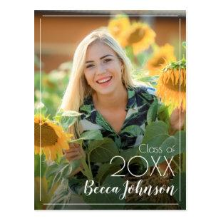 Modern Photo Graduation Save the Date Postcard