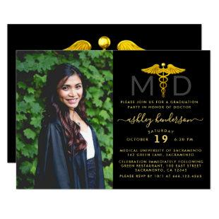 Modern Photo MD Doctor Graduation Party Invitation