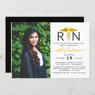 Modern Photo RN Nurse Graduation Party Invitation