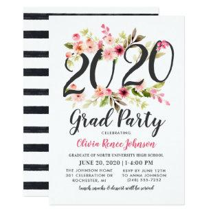Modern Pink Floral 2020 Grad Party Graduation Invitation