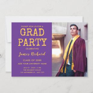 Modern Purple And Gold Graduation Party Invitation