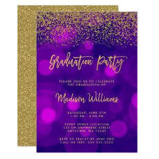 Modern Purple Faux Gold Glitter Graduation Party Invitation