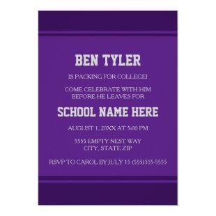 Modern Purple White College Trunk Party Invitation