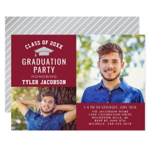 Modern Red and Silver 2021 Photo Graduate Party Invitation