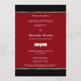 Modern Red Black White Graduation Party