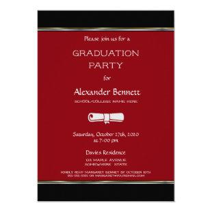 Modern Red Black White Graduation Party Invitation