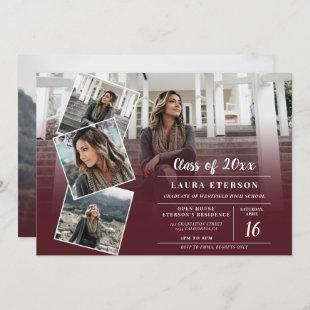 Modern red burgundy minimalist photo graduation invitation