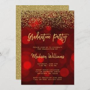 Modern Red Faux Gold Glitter Graduation Party Invitation