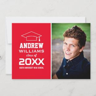 Modern Red Photo Graduation Party Invitation