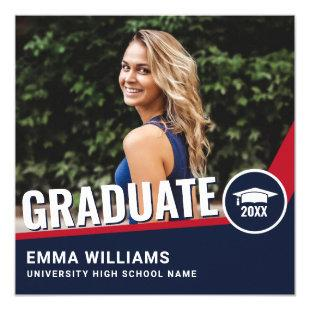 Modern Red White Blue | Photo Graduate Graduation Invitation