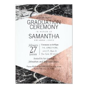 Modern Rose Gold and Marble Graduation Ceremony Invitation