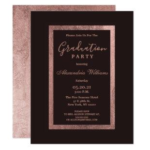 Modern rose gold burgundy elegant Graduation Invitation