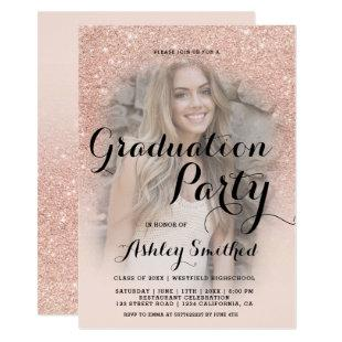 Modern rose gold glitter ombre photo graduation invitation