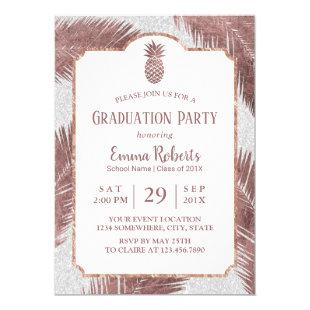 Modern Rose Gold Pineapple Luau Graduation Party Invitation