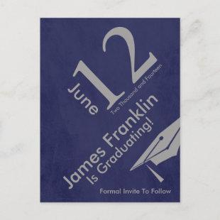 Modern Save The Date Graduation - Silver and Blue Announcement Postcard