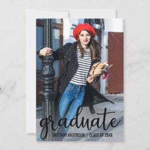 Modern Script Graduation Announcement Photo Card