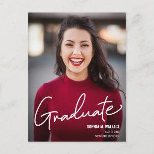 Modern Script Personalized Graduate Photo Announcement Postcard