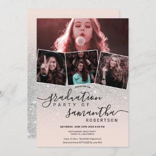 Modern silver glitter script 4 photo graduation invitation