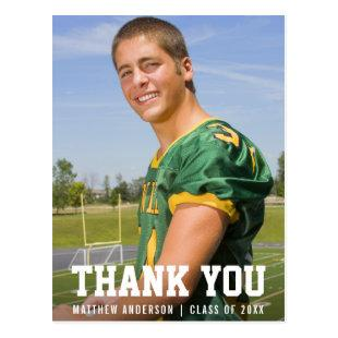 Modern Sporty Graduation Thank You Photo Postcard