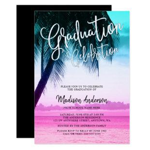 Modern Teal Pink Tropical Beach Graduation Party Invitation