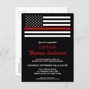 Modern Thin Red Line Firefighter Retirement Party  Postcard