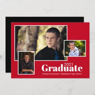 Modern Three Photo Red and Black Graduation Party