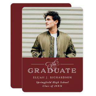 Modern Traditional Burgundy | Photo Grad Party Invitation