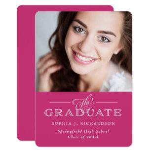 Modern Traditional Pink | Photo Grad Party Invitation
