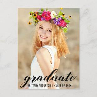 Modern Trendy Graduation Party Photo Invite B