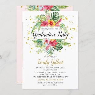 Modern Tropical Floral Foliage Graduation Photo Invitation