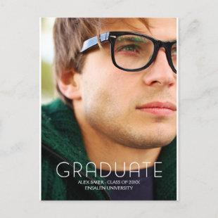 Modern Typography Male College Graduate Announcement Postcard