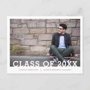 Modern Typography Photo Overlay Graduation Party A Announcement Postcard