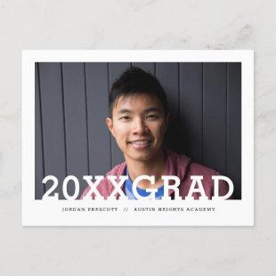 Modern Typography Photo Overlay Graduation Party Announcement Postcard