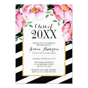 Modern Watercolor Floral Stripes Graduation Party Invitation